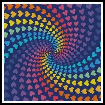 Abstract Rainbow Heart Design by Artecy printed cross stitch chart